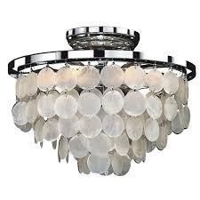 capiz flush mount light glow lighting bayside 6 light capiz shell and chrome frame flush