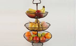 fruit basket stand three tier wire fruit basket groupon goods