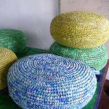 this is one comfy floor cushion made from upcycled plastic bags