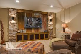 this rustic basement living room brings in natural elements and