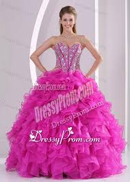 pretty graduation dresses sweetheart ruffles and beaded decorate 2014 hot pink quinceanera gowns