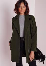 missguided petite faux wool biker coat khaki in natural lyst