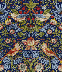 william morris strawberry thief bright blue wallpaper
