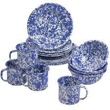 enamelware 16 dinnerware starter set blue