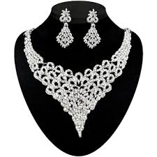 white necklace sets images Shop kriaa silver plated white stone necklace set jpg