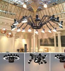Industrial Lighting Chandelier Shopping Mall Large Black Metal Chandelier Exhibition Show