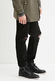 Forever 21 Ripped Jeans Forever 21 Distressed Slim Fit Jeans In Black For Men Lyst