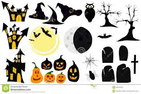 set of graphic elements and symbols for halloween stock photos