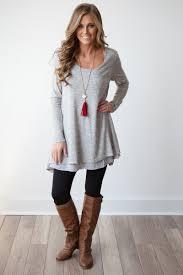 long sleeve layered flare tunic heather grey heather grey