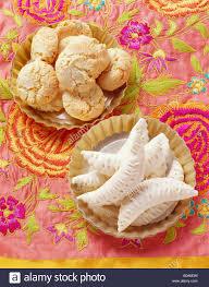 gazelle cuisine gazelles horns and almond macaroons morocco stock photo royalty