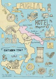 Italian Map Italy Culinary Tour Illustrated Map Of Puglia Yaansoon