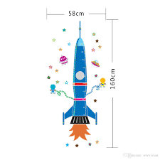 cartoon rocket exoplanet star robot wall sticker kids room nursery cartoon rocket exoplanet star robot wall sticker kids room nursery wallpaper poster outer space dream wall