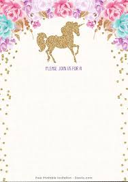 printable invitations free printable golden unicorn birthday invitation template
