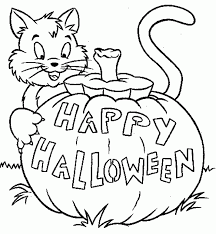 cute cat in a halloween pumpkin archives gallery coloring page