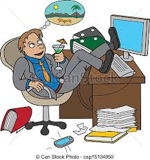 clipart bureau office worker dreaming about vacati sitting on clipart