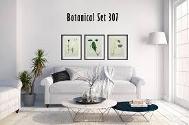 blue floral botanical wall art set of 3 botanical prints modern