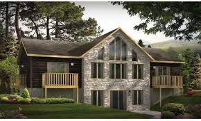 hillside cabin plans walkout basement plans ranch home with hillside house lake cabin