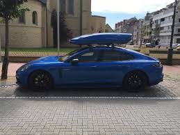 porsche panamera hybrid black porsche panamera with a roof box drivetribe