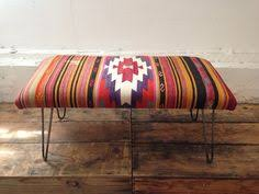 Turkish Bench Mexican Rug Covered Bench With Hairpin Legs Diy With Foam Wooden