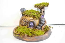 how to sculpt a stone fairy house and moss garden with polymer