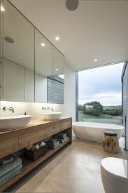 modern bathroom wooden large mirrors recessed large window