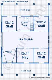 10 Stall Horse Barn Plans Barn Plans With Living Quarters 4 Stalls 2 Bedrooms Design Fp