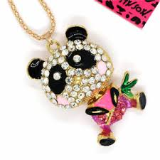 crystal necklace ebay images Hot betsey johnson cute panda bamboo crystal pendant sweater chain jpg