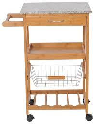 homcom 31 rolling wooden kitchen trolley cart with wine rack