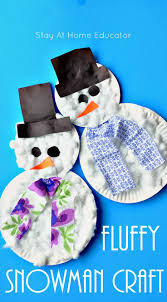fluffy paper plate snowman craft stays therapy and crafts