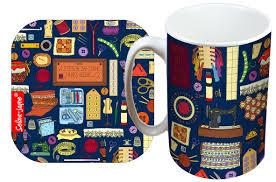 selina jayne sewing limited edition designer mug and coaster gift set