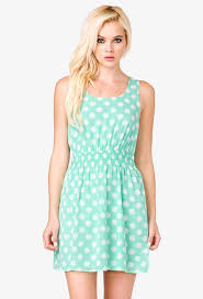 forever 21 smocked polka dot dress in green lyst