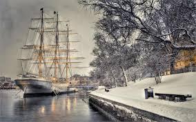 sailboat dock quay snow ship boat winter home decoration canvas