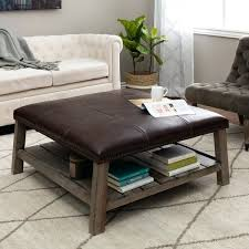 Coffee Table Ottoman Combination Fantastic Leather Ottoman With Shelf Taptotrip Me