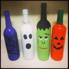 Folk Art Halloween Decorations Hand Painted Set Of Three Halloween Wine Bottle Decorations On