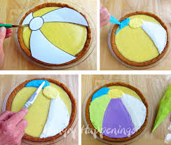 decorate pie to look like a beach ball beach themed dessert