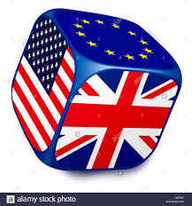Union Of The Flag Dice With The Flags Of The European Union Uk And United States Of