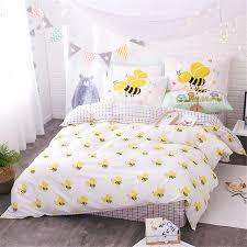 White Linen Duvet Aliexpress Com Buy 100 Cotton Kids Cartoon Butterfly Little Bee