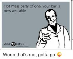 Hot Mess Meme - hot mess party of one your bar is now available your e cards same