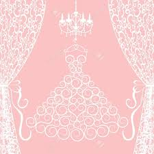 Dress Curtains Wedding Card With Dress Curtains And Chandelier Royalty Free