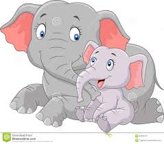 cartoon cute mother and baby elephant stock vector image 60505310