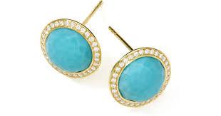 turquoise stud earrings lyst ippolita gold rock candy lollipop diamond turquoise stud