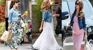 celeb maternity fave denim and maxi dress how to wear it