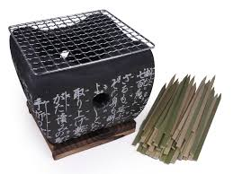 Backyard Hibachi Grill Portable Earthenware Hibachi Grill With Bamboo Skewers Set