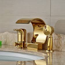 popular bathtub diverter valve buy cheap bathtub diverter valve wholesale and retail golden deck mount waterfall bathtub faucet ceramic valve 3 holes diverter mixer tap