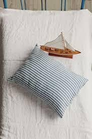 Blue Linen Bedding - striped in blue and white linen bedding u2013 magiclinen
