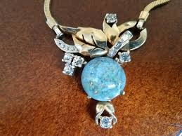 art glass necklace images Vintage lovely blue art glass necklace mazer bros collectors jpg