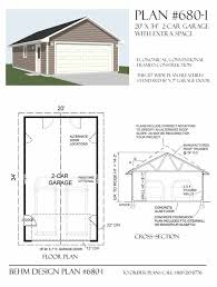 Shop Plans And Designs Two Car Garage With Extra Space Plan 680 1 20 U0027 X 34 U0027 By Behm
