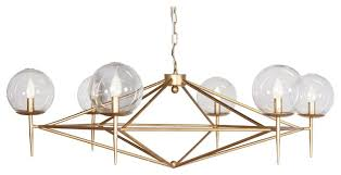 Gold Glass Chandelier Powder Coated Chandelier With Glass Globes Midcentury