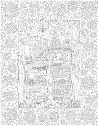 vector hand drawn fantasy old oak tree with fairy tale house light