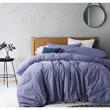 overdyed denim linen cotton quilt cover set light purple by